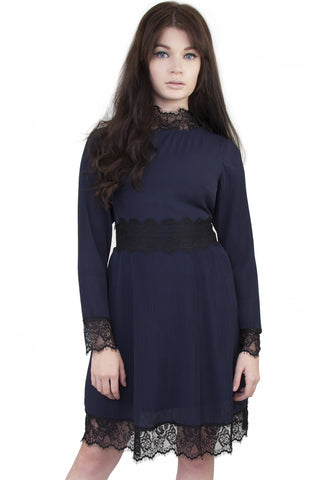 Marni Lace Shift Dress Cobalt