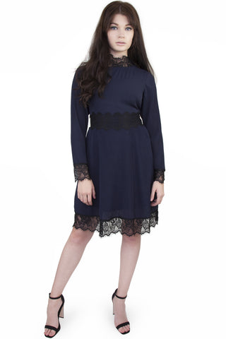 Jem micro pleat and eyelash lace long sleeve dress - Wolf & Whistle