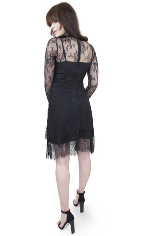 Patty eyelash lace high neck dress - Wolf & Whistle