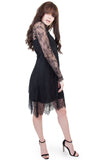 Patty eyelash lace high neck dress