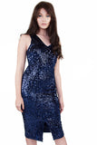 navy sequin pencil dress wolf & whistle