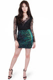 Rose sequin velvet skirt