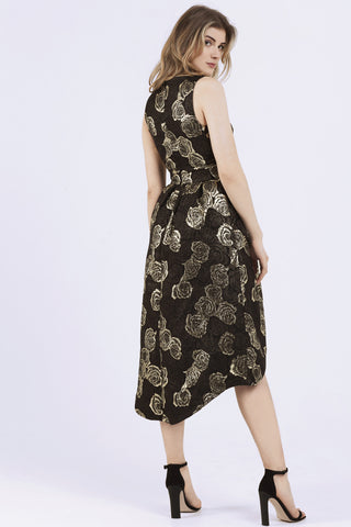 Womens Layla Gold Brocade Drop Hem Party Dress Wolf & Whistle