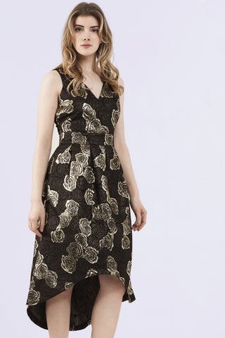 Layla gold brocade drop hem dress - Wolf & Whistle