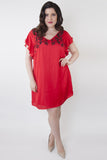 Thea Embroidered Dress Curve - Wolf & Whistle