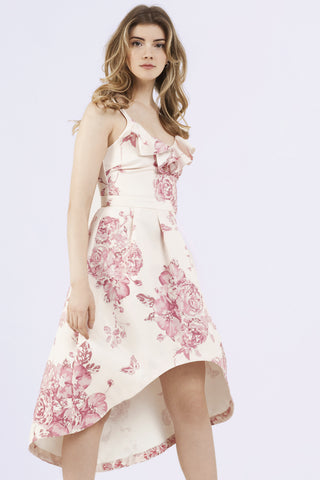Marietta pink + ivory drop hem ruffle dress curve