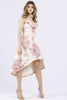 Marietta pink + ivory drop hem ruffle dress