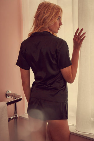 Wolf & Whistle melinda black satin pyjama set