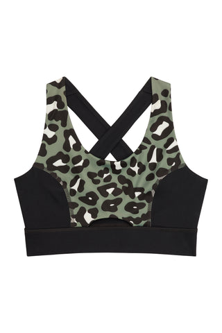 Cross Back Bra Leopard Curve