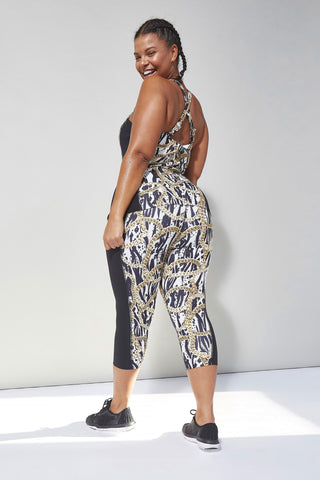 Curve Zebra Chain Cropped Leggings