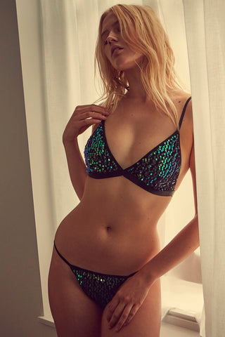 wolf & whistle green sequin brief