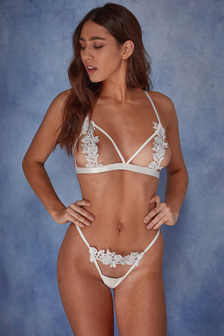 Billie open cup triangle bra ivory