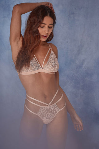 Tanja white lace strappy brief