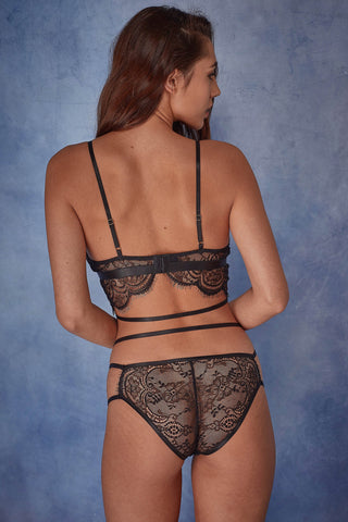 Tanja black lace strappy soft cup bra