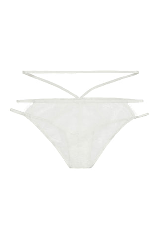 Jolie White Criss Cross & Frill Bikini Brief