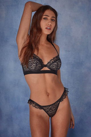Abi Black lace cut out brief