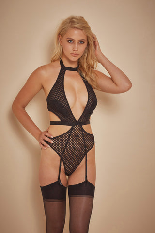 Avis Fishnet and Lace Cut Out Body