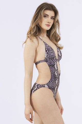 Snakeskin Macreme Back Cut Out Swimsuit B-F cups - Wolf & Whistle