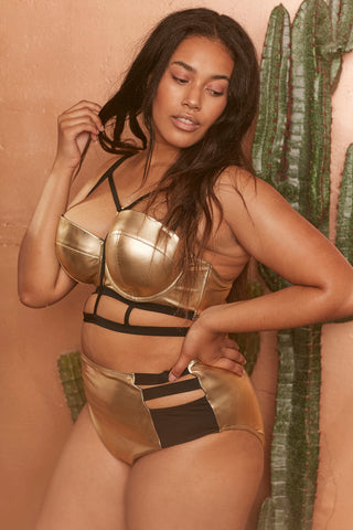 Jett Gold metallic balcony bikini top curve
