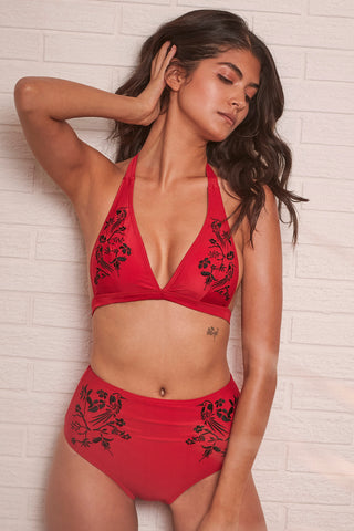 Lana Red Embroidered Bikini Top