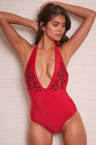 Lana Red Embroidered Plunge Swimsuit