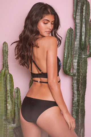 Megan Black Embroidered Bikini Brief