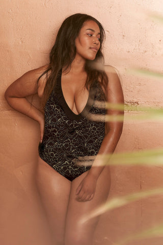 Floral lace up swimsuit curve