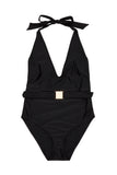 Selki Black Belted Halterneck Swimsuit Curve