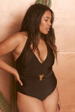 Black Belted Halterneck Swimsuit Curve - Wolf & Whistle