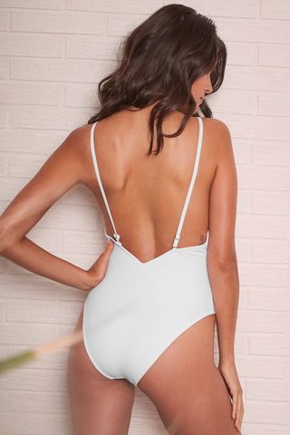 Goldie white swimsuit with removable chain