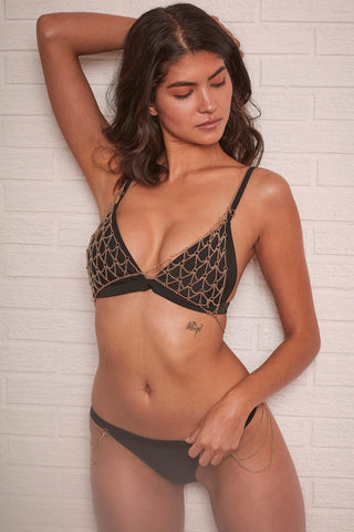 Goldie black triangle bikini top with removable chain