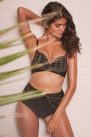 Blake Black Lace up front swimsuit