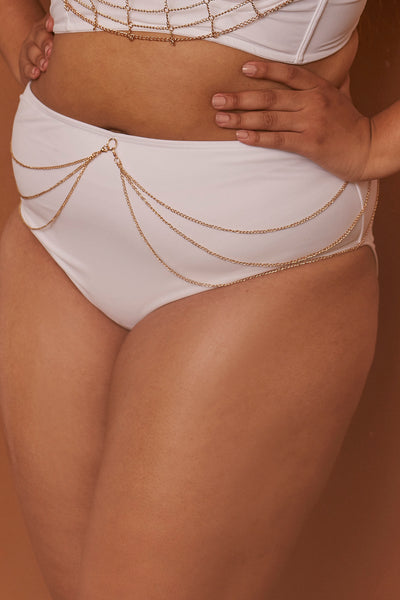 Goldie White high waist bikini brief with removable chain curve