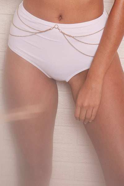 Goldie White high waist bikini brief with removable chain