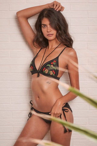 Mayla Embroidered Bikini top with tassles