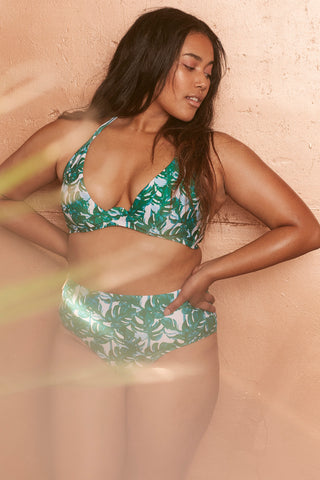 Loha Green Palm Underwired Bikini Top Curve