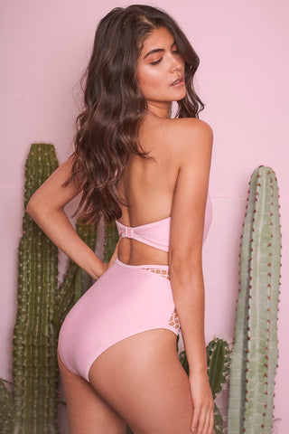 Wolf & whistle rosella pink fishnet swimsuit