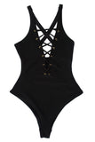 Black Lace up front swimsuit