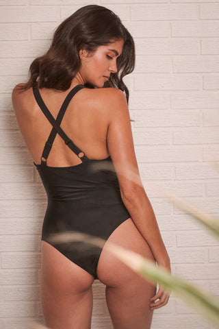 Blake Black Lace up front swimsuit - Wolf & Whistle