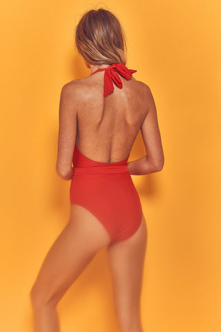 Christi Red Belted Halterneck Swimsuit