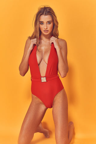 Kira High Neck Lace Up Swimsuit
