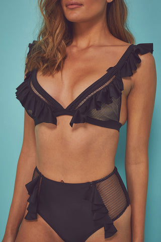 Fishnet and frill Eco triangle top B - F Cups