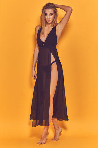 Karissa Cross Back Beach Dress Black