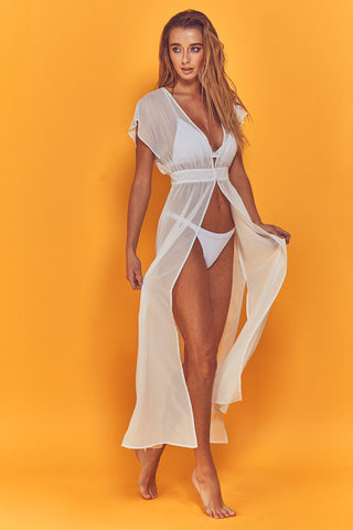 Embroidered Plunge Swimsuit Curve