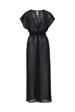 Zahida Open Front Maxi Beach Dress Black