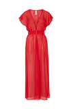 Zahida Open Front Maxi Beach Dress Red