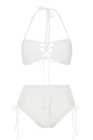 White textured lace up bandeau B-F cups - Wolf & Whistle