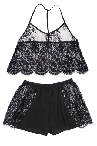 Zila Black Lace Cropped Pyjama Set