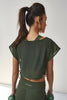 Mesh Crop Top Khaki