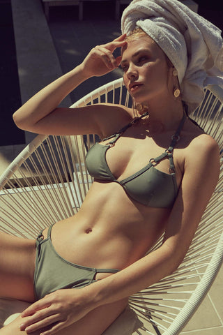 Eco Cut out bikini top with gold rings